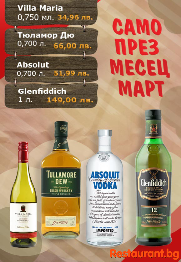 Promotion of selected alcoholic beverages in March in La Cubanita